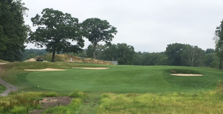completed green side bunkers on 7